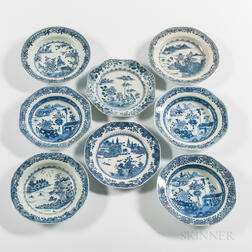 Eight Blue and White Export Porcelain Plates