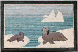 Seal and Pup Hooked Mat