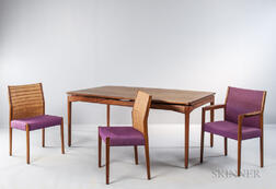 Jens Risom Floating Dining Table and Six Chairs