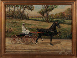American School, Early 20th Century      Horse and Buggy on a Country Road