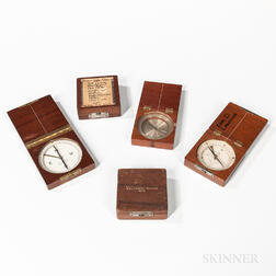 Five W. & L.E. Gurley Wood-cased Pocket Compasses