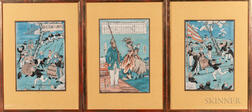 Three Yokoyama-e   Woodblock Prints