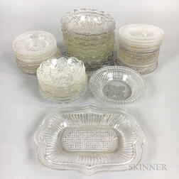 Thirty-nine Sandwich Geometric Pressed Glass Cup Plates.     Estimate $20-200
