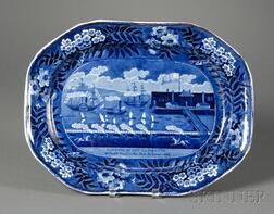 """Blue and White Transfer-decorated Staffordshire Platter """"Landing of LaFayette,"""""""