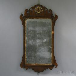 Queen Anne Carved Mahogany Veneer Scroll-frame Mirror