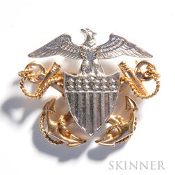Platinum and Gold Navy Pin, c. mid-20th century, platinum eagle and shield, with crossed gold anchors, ht. 1, wd. 1 1/4 in.