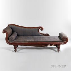 Classical Carved and Upholstered Mahogany Recamier