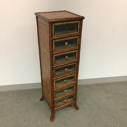 Maitland-Smith Glazed, Leather, and Faux Bamboo Seven-drawer Chest