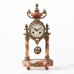 Louis XVI-style A.D. Mougin Marble and Gilt-bronze Mantel Clock