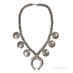 Navajo Mercury Dime and Silver Dollar Necklace