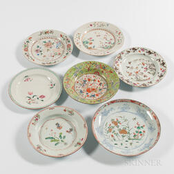Seven Polychrome Decorated Export Porcelain Plates