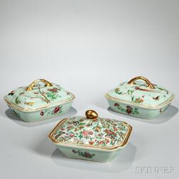 Pair of Celadon-glazed and a Rose Canton Pattern Covered Vegetable Dish