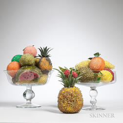 Two Colorless Glass Compotes with Various Beaded Fruit.