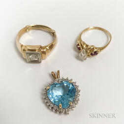 Two 14kt Gold and Diamond Rings and a 14kt Gold, Blue Topaz, and Diamond Heart Pendant