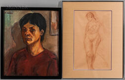 Two Framed Works:      Moses Soyer (American, 1899-1974), Portrait Head