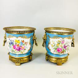 Pair of Russian Bronze-mounted Hand-painted Porcelain Cache Pots