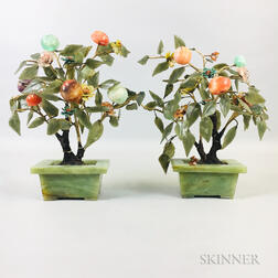 Pair of Hardstone Trees in Hardstone Planters
