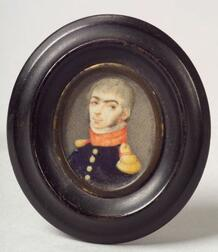 American School, 19th Century    Miniature Portrait of a Military Officer.
