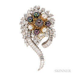 Diamond and Cultured Pearl Brooch