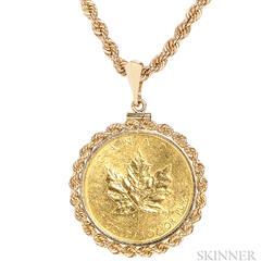 1982 Canadian 50 Dollar Gold Maple Leaf Pendant