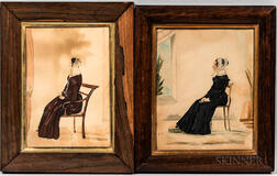 Two Watercolor Portraits of Women Seated in Chairs