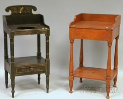 Grained and Stencil-decorated Wooden Chamber Stand and a Pine Washstand.