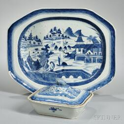 Canton Export Porcelain Well and Tree Platter and Vegetable Dish