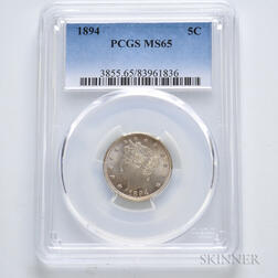 1894 Liberty Head Nickel, PCGS MS65.     Estimate $400-600