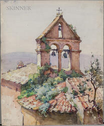 Mabel May Woodward (American, 1877-1945)     Bell Tower and Roof