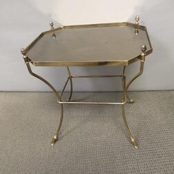 Hollywood Regency-style Brass and Glass Side Table