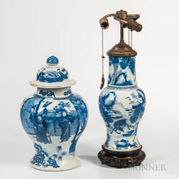 Large Blue and White Covered Ginger Jar and a Lamp Vase