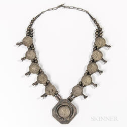 Navajo Half Dollar Squash Blossom Necklace