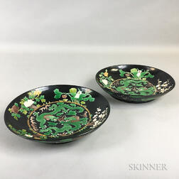 Pair of Famille Noir Dragon Dishes