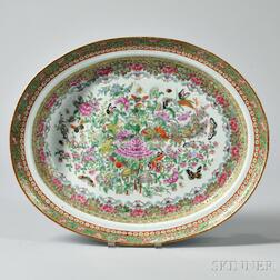 Large Rose Canton Export Porcelain Well and Tree Platter