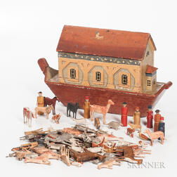 Polychrome Painted Noah's Ark and Animals