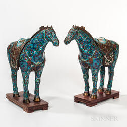 Pair of Cloisonne Horses with Stands