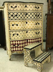 Huntley Furniture Co. Paint-decorated Chest of Drawers and Bed Steps