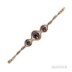 Antique Gold and Carbuncle Garnet Bracelet