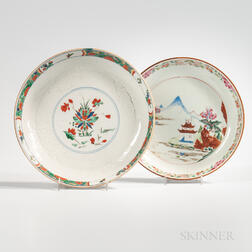 Two Polychrome Export Porcelain Deep Dishes