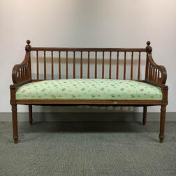 Louis XVI-style Carved and Upholstered Fruitwood Settee