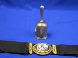 French Gilt-metal Mounted Scenic Enamel Belt Buckle and a Tiffany Sterling Silver Tea Bell.