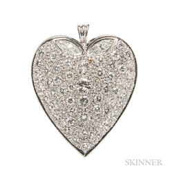 14kt White Gold and Diamond Heart
