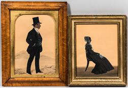 Anglo/American School, 19th Century      Two Silhouettes of a Man and Woman