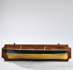Carved and Painted Half-hull Model of a Two-masted Vessel