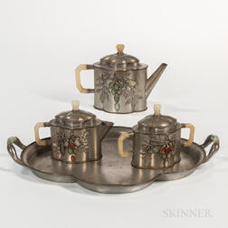 Export Pewter Tea Set with Tray