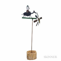 Folk Art Whirligig of a Man on Horseback