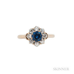 Antique 18kt Gold, Synthetic Sapphire, and Diamond Ring