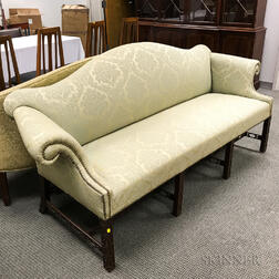 Chinese Chippendale-style Carved Mahogany Camel-back Sofa