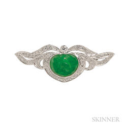 18kt White Gold, Jade, and Diamond Pin