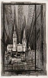Armin Landeck (American, 1905-1984)      Chartres Cathedral